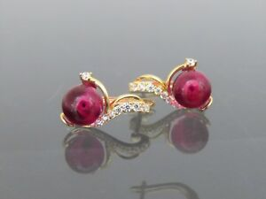 18K Solid Yellow Gold Ruby Cabochon & White Topaz Earrings