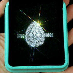 Solid 10k White Gold Pear Shape Halo Engagement Ring 1.00ct Round Cut Diamond