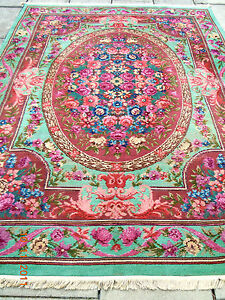 RARE~1920's DESIGNER FLORAL RIBBONS & ROSES FRENCH STYLE AUBUSSON  RUG