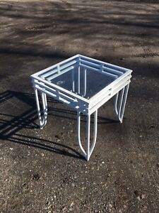 Metal and Glass Square White Table