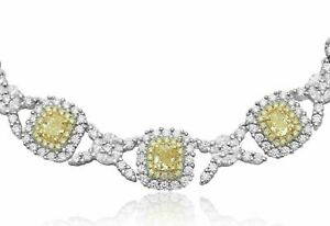 LARGE 32.32CT WHITE & FANCY YELLOW DIAMOND 18KT 2 TONE GOLD 3D ETERNITY NECKLACE