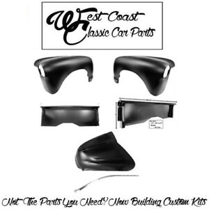 .1947-1953 Chevy Stepside Truck Front Fenders Hood WChrome Molding Bedsides