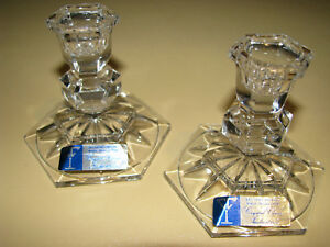 2 Crystal Clear Industries 24% Lead Crystal Made in Austria Candle Stick Holders