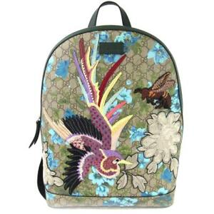 77aef33c518 Gucci GG Bloomers Bird Embroidery Backpack Unisex Leather x Canvas Multi  Color