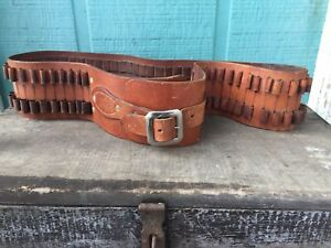 Vtg Bandolier Gunfighter Leather Belt Pistol Bullet Rifle Military Army WW I II