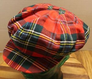 THE HOP SCOTCH SHOP RED PLAID DRIVERS CAB SIZE 57 MEDIUM 7 18 VERY GOOD COND