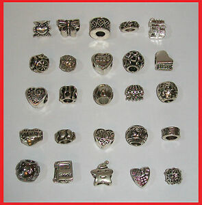 * WHOLESALE LOT: SET OF 25 SILVER PLATED BRACELET BEADS CHARMS