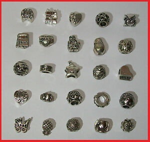 * WHOLESALE LOT: SET OF HQ 25 ANTIQUE SILVER PLATED BRACELET BEADS CHARMS