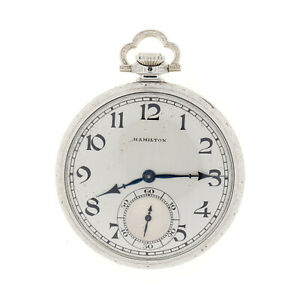 Hamilton 904 Pocket Watch 14K White Gold Filled 21 Jewel