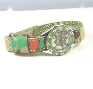 Children's Boys Girls Learn The Time Green Camouflage Analogue Quartz watch