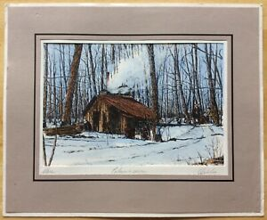 "Vintage Marc Signed Hand Colored Engraving Maple Sugar Maker Mat 10"" x 12"" $174.95"
