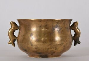 Chinese Bronze Halbred Handled Incense Burner Censer Yilu 17th/18th Century Qing