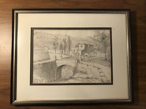 """Vintage Original Pencil painting signed by artist 1853 Super Old 11.5""""x14.5"""""""
