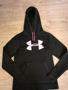 EUC Small Under Armour Brown Pink Camo Hoodie Pull Over Jacket Soft Comfy Rare