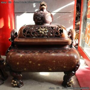 Chinese Folk Red Copper Bronze Gild Dynasty Two Ear Dragon Incense Burner Censer