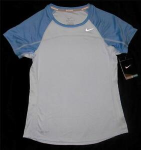 Nike Youth Girls Miler Blue Dri Fit Reflective Running Shirt $14.99