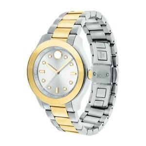MOVADO WOMEN'S BOLD TWO TONE STEEL BRACELET SWISS QUARTZ ANALOG WATCH 3600418