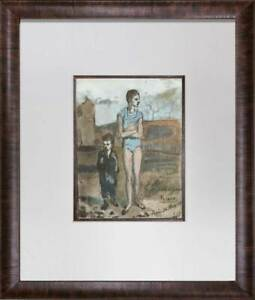 Pablo Picasso Lithograph LIMITED Edition - Harlequin and Boy + Custom FRAME