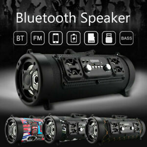Portable Wireless Bluetooth Speaker Boombox Bass Stereo Cylinder SD FM Radio AUX