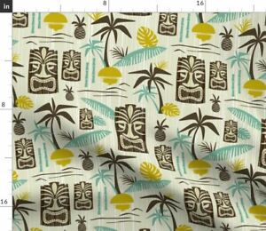 Tiki Tropical Paradise Green Yellow Brown Fabric Printed by Spoonflower BTY