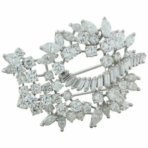 Mid-Century Diamond 18K White Gold Brooch 16.40ctw