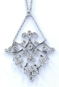 Vintage 14k white gold milgrain diamond pendant necklace 8.8 grams (#18)