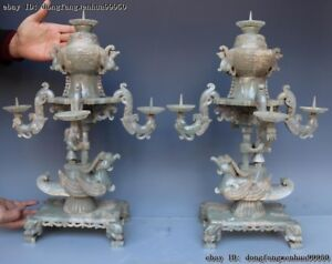 He Tian Old Jade Nephrite Dynasty Carving Bird Palace Lantern candlestick A Pair