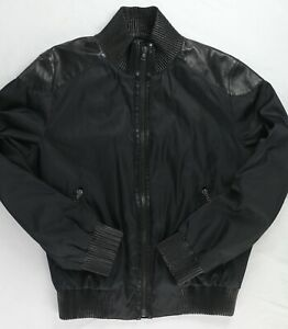 Prada Milano Black Bomber Zip Nylon Leather Jacket Made in Italy EUR52 US42