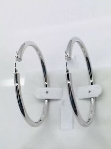 "14k Solid White Gold High Polish Cute Hoop Earring.2.6"" or 68mm. Ret $699"