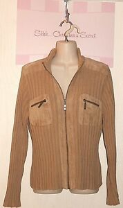 RUFF HEWN ~ AUSTRALIA Tan Cotton & Suede 70's Look Knit Sweater Sz M * VERY GOOD
