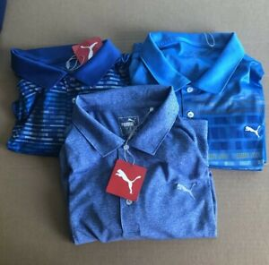 Puma Blue Golf Polo Lot (3) XL X-LARGE NEW WITH TAGS FREE SHIPPING