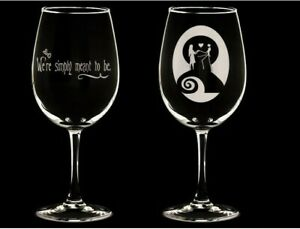 Nightmare Before Christmas Wine Glasses set of 2. 15 ounces. Jack and Sally
