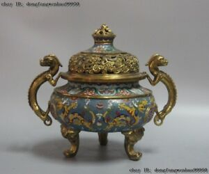 China Royal Bronze 24K Gold Gilt Cloisonne Dragon  two Beast Ear Incense Burner