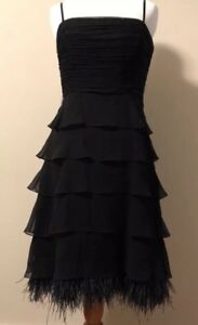 BCBG Maxazria NWT $440.00 Black Silk Dress Ruched Ostrich Feather Detail Size 8P
