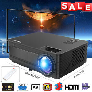 7000Lumens FHD LED LCD Projector Multimedia Home Video Theater HDMI 1280*800 TOP