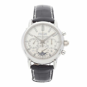 Patek Philippe Grand Complications Manual Platinum Mens Strap Watch 5204P-001