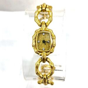CHOPARD Quartz 18K Solid Yellow Gold Ladies Watch FACTORY DIAMONDS In Box