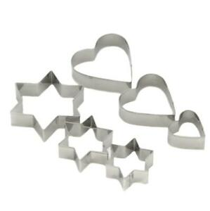 6-Piece Heart and Star Stainless Steel Cookie Cutter Set - CASE OF 144