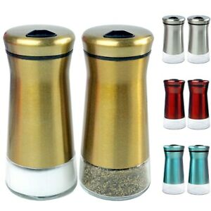 Salt & Pepper Shakers Stainless Steel Glass Bottom Adjustable Holes Sugar