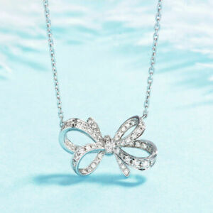 14k White Gold Finish Bow Pendant Necklace For Women's 0.25ct Round Cut Diamond