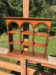 Vintage Large Solid Wood Wall Hanging Tea Cup Saucer Display Curio Cabinet Shelf