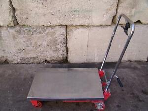 DAYTON HYDRAULIC SCISSOR LIFT TABLE CART MOBILIFT 400Lb CAP STAINLESS STEEL