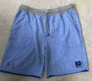 USED UNDER ARMOUR LOOSE TEAM ISSUED NOTRE DAME FOOTBALL SHORTS 2XL