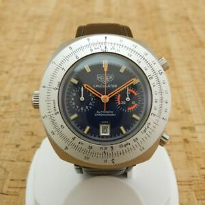 Heuer Calculator Automatic Cal.12 Genuine Crown Watch From Japan