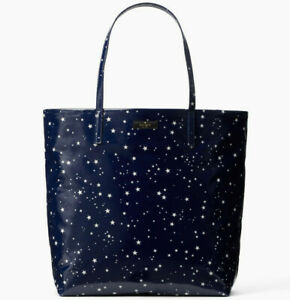 NWT Kate Spade Bon Shopper Daycation Night Sky PVC Tote WKRU5554 Retail $148