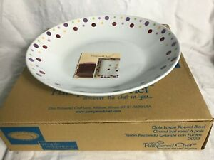 """Pampered Chef 2033 RETIRED Large Round Bowl Polka Dots Salads Pasta Serving 15"""""""