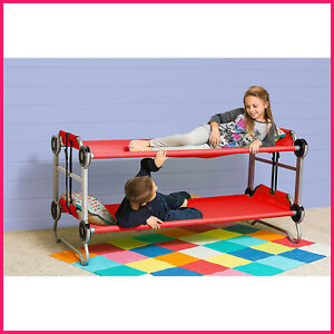 Kid-O-Bunk with Side Organizers & Rubber Foot Pads Red