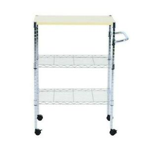 3 Tier Bakers Rack Kitchen Cart Microwave Stand Cutting Board Workstation