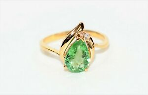 Fantastic Shine 1.62tcw Paraiba Tourmaline & Diamond 14kt Yellow Gold Ring