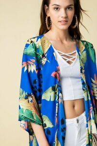 Johnny Royal Blue Tropical Floral Kimono - PLUS Super Chic  Made in America